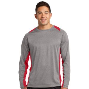 Sport Tek Unisex Poly Heather Colorblock Long Sleeve Thumbnail